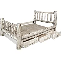 Montana Woodworks MWSBKV Montana Collection King Bed with Storage, Clear Lacquer Finish