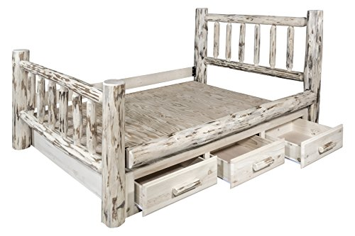 (Montana Woodworks MWSBKV Montana Collection King Bed with Storage, Clear Lacquer Finish)