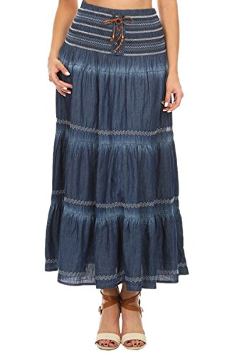 Full Jeans Circle (TheMogan Women's Casual Tiered A-Line Denim Long Maxi Skirt Dark Blue One Size)