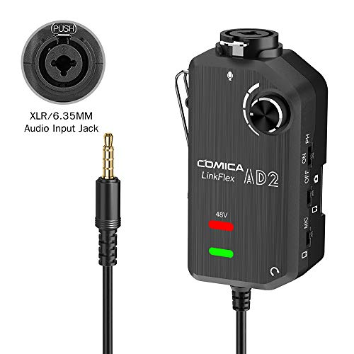 Audio Preamp Adapter Comica LINKFlEX AD2 XLR/ 6.35MM Microphone Preamp Amplifier with 48V Phantom Power, Guitar Interface Adapter for iPhone,iPad,Android Smartphone and and DSLR Cameras