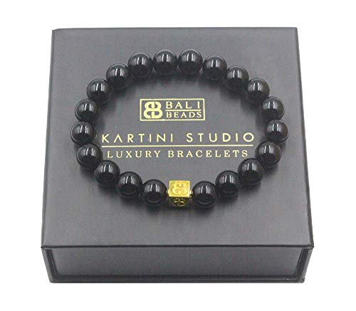 Polished Black Onyx and Gold Beads Bracelet, Men's Onyx Bracelet