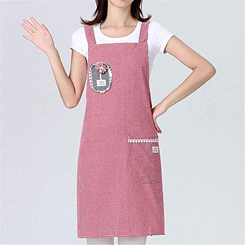 YXDZ Plaid Apron Home Kitchen Japanese Cute Oil-Proof Overalls Ladies Korean Fashion Cotton and Linen Breathable Cloth Plaid Pink