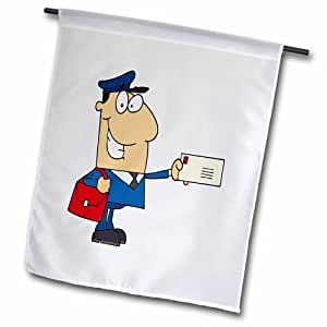 "3dRose fl_118752_2 ""Happy Mailman Postal Worker Delivering Letter"" Garden Flag, 18 x 27"""