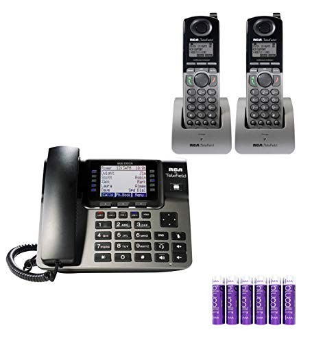RCA U10002HS Unison 4-Line Wireless Phone System - U1000 Full-Duplex Speakerphone Bundle with RCA U1200 DECT 6.0 Cordless Accessory Handsets (2-Pack) and 6 Blucoil AAA Batteries