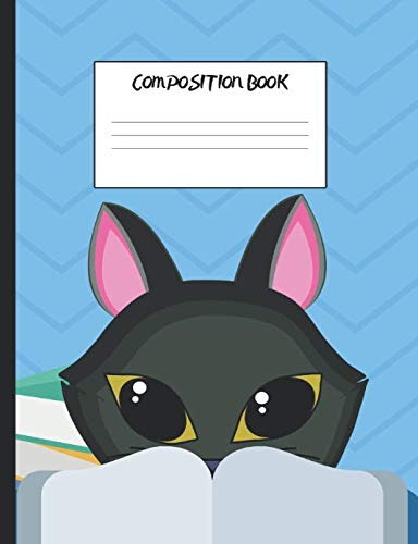 "Composition Book: Cat Looking Over Book, 200 Pages, Wide Ruled (7.44"" x 9.69"")"
