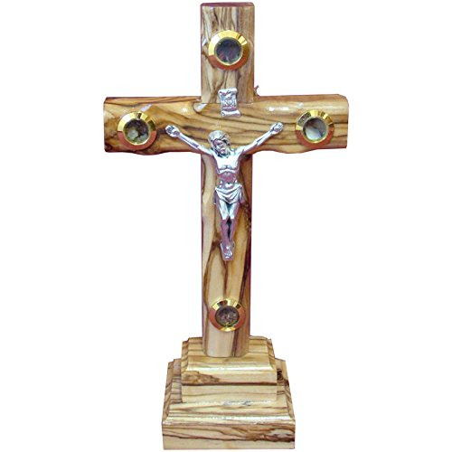 Zuluf 20cm Catholic Olive Wood Cross With Crucifix On Stand Israel Gift - CRS040