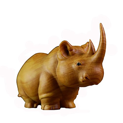 (YUJINPIN Boxwood Collection Furniture Sculpture Home Decoration Carving Crafts, Rhinoceros)