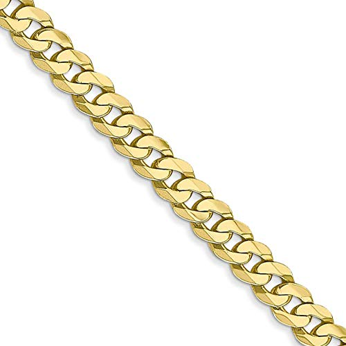 4.6mm 10k Yellow Gold Flat Beveled Curb Chain Necklace, 18 Inch