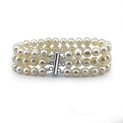3rangs Perle de culture d'eau douce blanc Grade A 6,5-7,5mm Bracelet 17,8cm