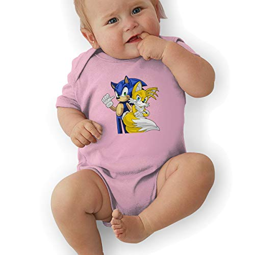 Price comparison product image MichelleJCeja Sonic Short-Sleeve Baby Bodysuit Romper Lightweight Newborn Baby Bodysuit 45 Gift Pink