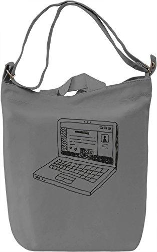 Doodle laptop Borsa Giornaliera Canvas Canvas Day Bag| 100% Premium Cotton Canvas| DTG Printing|