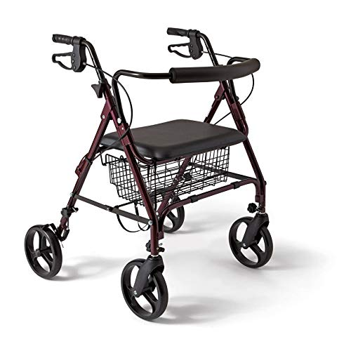 (MISC 4-Wheel Rollator Walkers Sitting Standing Rollatator 4-Wheeled Basket Senior Stand Sit Mobility Rollater Walker Folding Small Seniors Rollator-Walker )