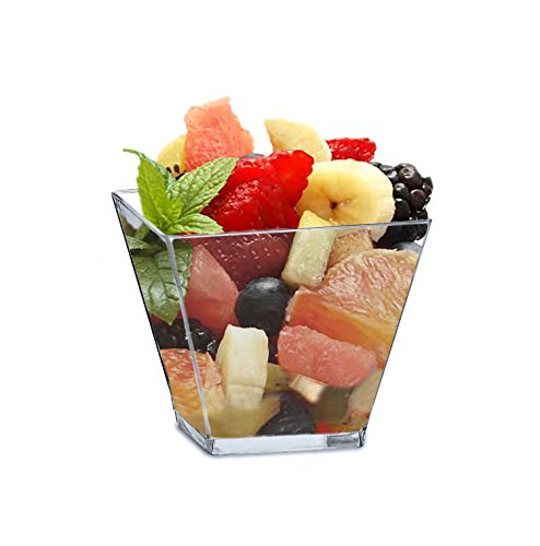 Mini 2 Ounce Square Dessert Cups. Pack Includes 100 Clear Plastic Appetizer / Dessert / Tasting Cups (Bridal Miniatures)