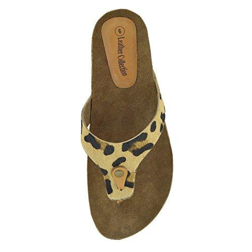 Leather Flops Kick Sandals Fashion Natural Summer Flip Beach Leopard Shoes Womens Footwear 6qzwS1