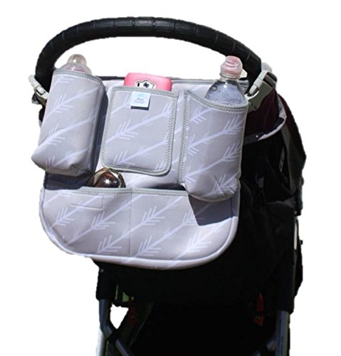 Premium Baby Parent Console By Raz - Universal Detachable Zippered Essentials Bag - Durable Neoprene Construction - 8 Practical  Pockets - Easy Clip Buckle Design - Fits Almost All Strollers by Raz (Image #7)