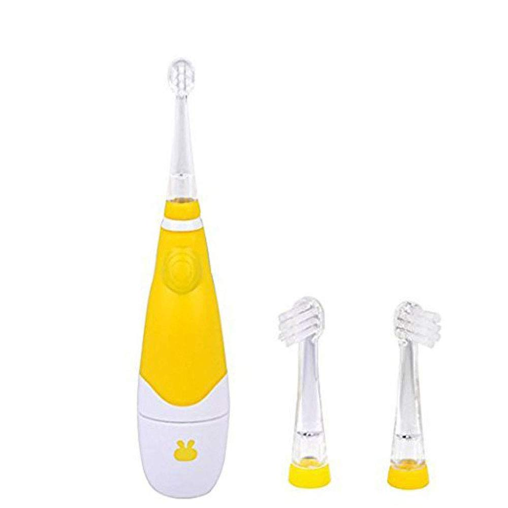 Baby/Toddles Sonic Electric Toothbrush Battery with 3 Tooth Brush Heads ((1-3 Years Old, Yellow) EIOU