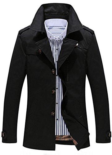 Sawadikaa Men's Single-Breasted Cotton Lightweight Jacket Windbreaker Wind Trench Coat Bomber Jacket Black - Cotton Mens Coat Trench