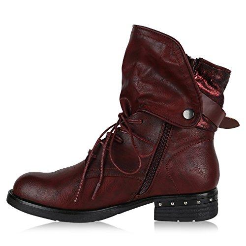 ... Stiefelparadies Damen Schuhe Biker Boots Winter Plateau Booties  Gefütterte Stiefel Nieten Flandell Dunkelrot Berkley Nieten ...