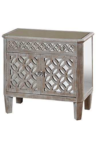 - Collective Design 720354122950 Transitional Filigree 2-Door 1-Drawer Mirrored Driftwood Gray Chest,