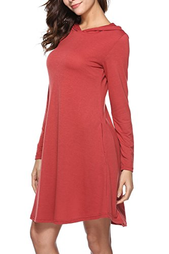Robe Swing À Capuche Casual Féminin Gissi Avec Poches Latérales Manches Longues Solide Rouge Pull-over