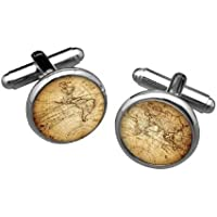 Vintage Silver world map men cufflinks