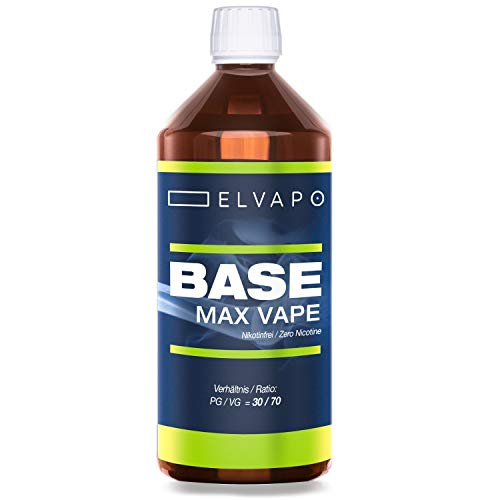 Elvapo BASE – Max Vape   1000ml / 1L   30/70 (PG/VG)   Basisliquid für das Mischen von E-Liquids mit Aromen (für E…