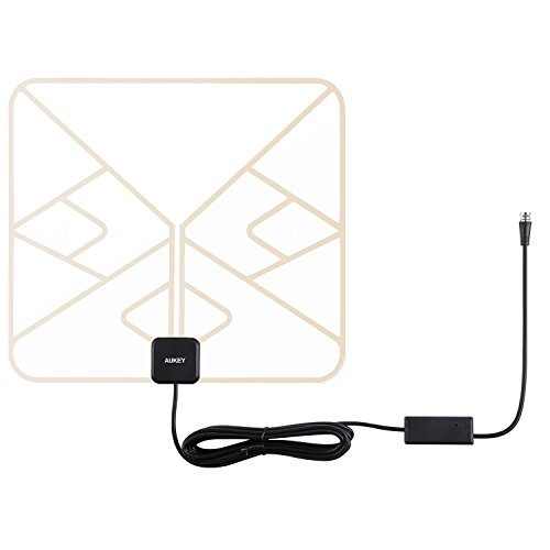 AUKEY HDTV Antenna, Amplified Indoor Digital TV Antenna with In-line Amplifier Signal Booster and 9.8ft Coax Cable for HDTVs (Transparent) by AUKEY