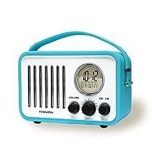 Portable Wood Retro Clock Radio Alarm Clocks Retro Portable Radio,Clock Radios for Bedroom or Outdoors,Color Blue