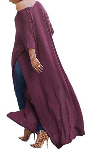 Shirts Loose Dress Womens Irregular Crewneck Side Coffee JSYAU Fit Summer Slit Maxi 68Sx4F