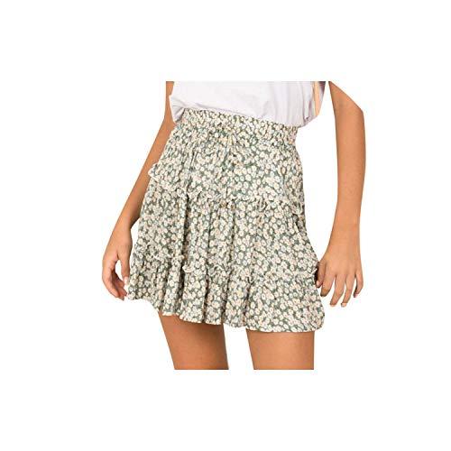 Kaka-home Summer Casual High Waist Femme Skirts Woman Beach Short Skirt,Green,XXL