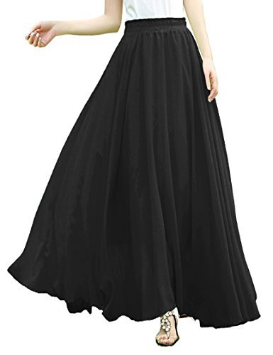 v28 Women Full/Ankle Length Elastic Pleated Retro Maxi Chiffon Long Skirt (Waist fits L, Black) by v28