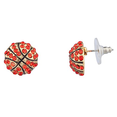 Lux Accessories Kids Girls Orange & Gold Basketball Stud Earrings (Two Gold Tone Basketball)