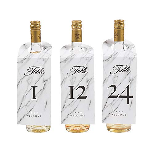 Fun Express - Wine Bottle Tag Table Numbers for Wedding - Party Supplies - Favors - Placecards And Holders - Wedding - 25 Pieces -