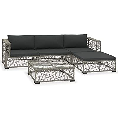 vidaXL 5 PC Patio Poly Rattan Sectional Cushioned Sofa Set Grey