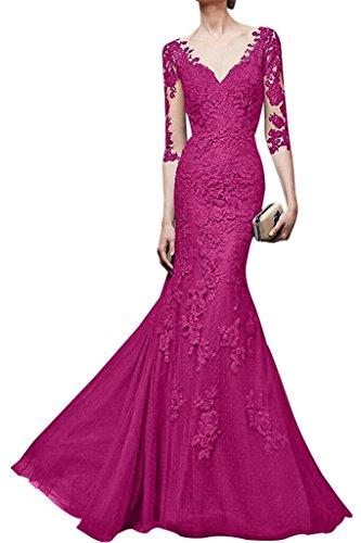 Partykleider Langes Braut Abendkleider V Spitze Etuikleider Damen La Festlichkleider mia Pink Orange ausschnitt W5zYIwI8qx