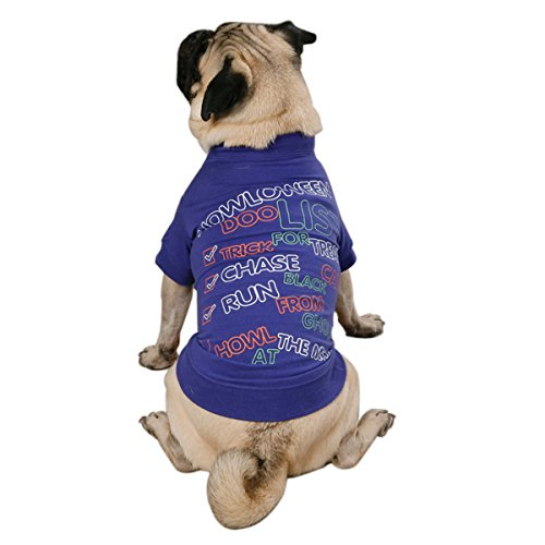 Zack & Zoey Polyester/Cotton Halloween to Doo List Print Dog Tee, (List Of Halloween)