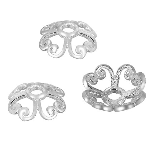 HooAMI 925 Sterling Silver Heart Filigree Flower Shape Bead Caps for Jewelry Making 10pcs,8mm