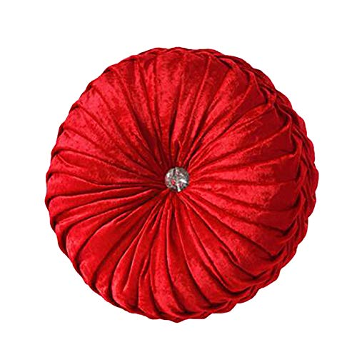 NOVWANG Round Solid Color Velvet Chair Cushion Couch Pumpkin Throw Pillow Home Decorative Floor Pillow,13.39 x 13.39,Red