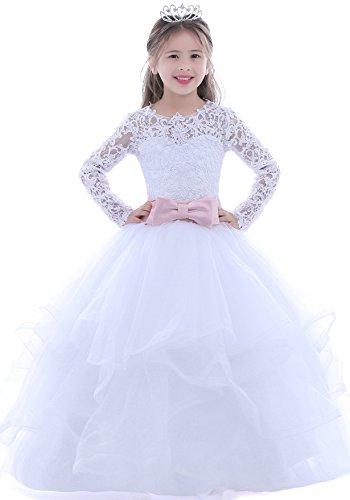 Puffy Flower (Dobelove Girls White Ball Gown Pageant Dress,Long Sleeves First Communion Dress)
