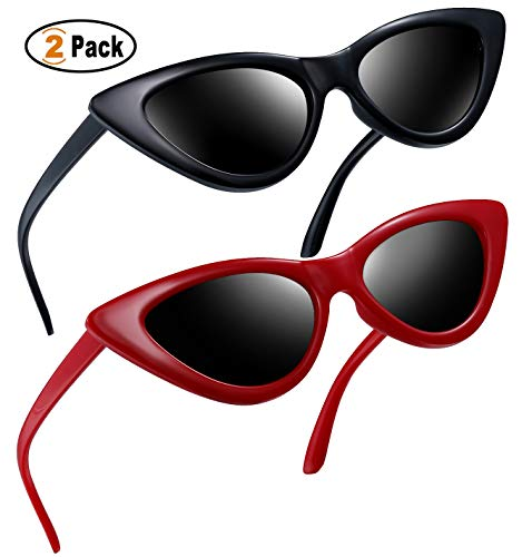 Vintage Fashion Retro (Polarized Cat Eye Sunglasses for Women Retro Vintage Cateye Sun Glasses Ladies Shades (Black+Red))