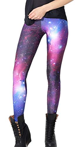 Tamskyt Womens Hot Sale Galaxy Star Printed High Waist Leggings Pants Full-Length Yoga Workout Leggings (Purple)
