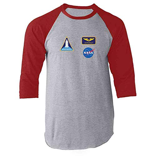 NASA Approved Astronaut Uniform Patches Costume Red 2XL Raglan Baseball Tee Shirt ()