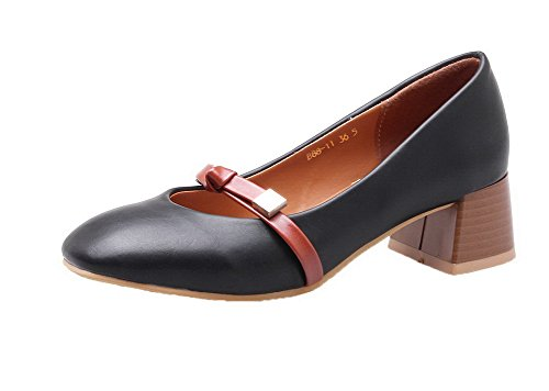 Pumps Closed Shoes Solid Toe Square 34 PU Women's On Pull Heels Black WeiPoot Kitten xPwvUqHn8