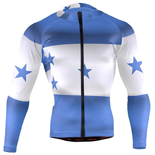 Honduras Flag Men's Cycling Jersey Long Sleeve Bike Jacket Biking Bicycle Jersey Shirt (Honduras Jacket)