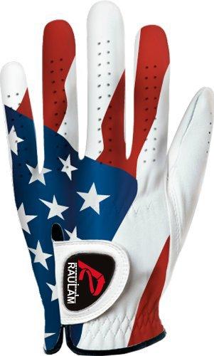 (RAULAM INTERNATIONAL USA Flag Golf Gloves Perfect Grip for Men and Women (Men's Large, Left))