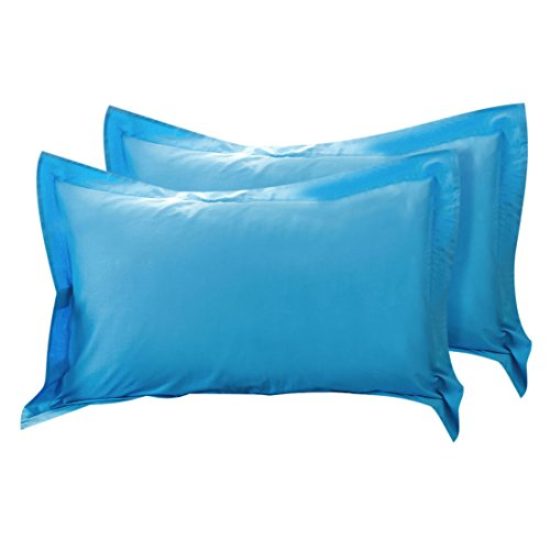 uxcell Pillow Shams Oxford Pillow Cases Egyptian Cotton 300 Thread Count Solid/Plain Pattern Blue 20 x 26 Inch Set of 2