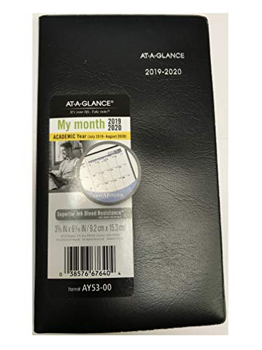 at-A-Glance AY53 for Year 2019-2020 at-A-Glance DayMinder Academic Monthly Pocket Planner Jul - Aug 3 5/8