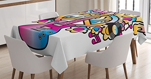 """Ambesonne Groovy Tablecloth, Peace Love Music Text with Peace Guitar Records Flowers Musical Notes, Rectangular Table Cover for Dining Room Kitchen Decor, 60"""" X 90"""", Blue Pink"""