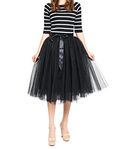 (Women's Summer A Line Pleated Midi/Knee Length Casual Tulle Skirt Black High)