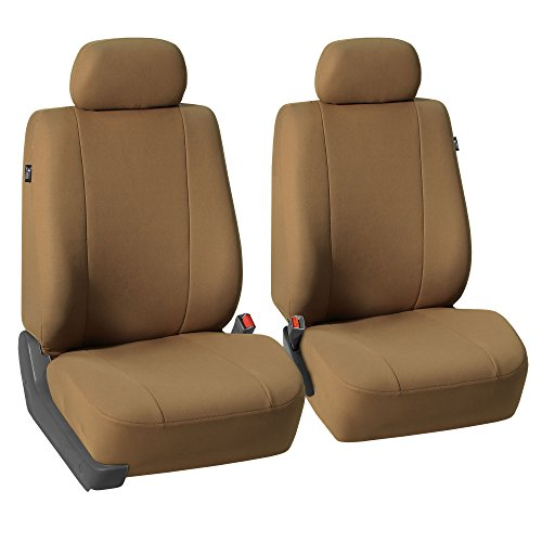 FH GROUP FH-FB052102 Pair Set Multifunctional Flat Cloth Bucket Seat Covers, Airbag compatible Taupe Color - Fit Most Car, Truck, Suv, or Van